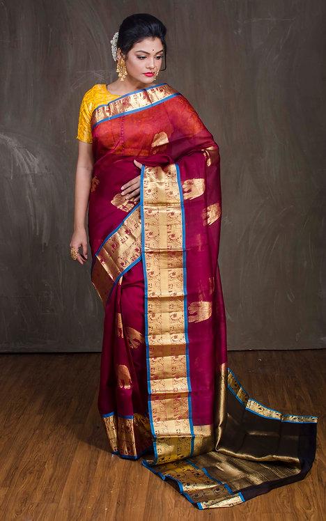 Organza Kanchipuram Saree in Maroon and Gold