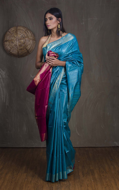 Pure Gicha Tussar Saree in Cerulean Blue and Magenta