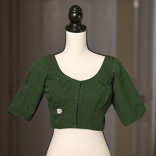 Dark Green Elbow Sleeves Designer Saree Blouse in Size 42