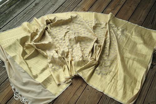 Banarasi Silk Dupatta in Cream and Gold