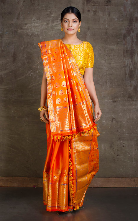Poly Paat Mekhela Sador in Orange and Gold