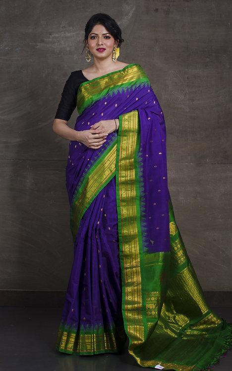 Pure Cotton Silk Gadwal Saree in Purple and Green