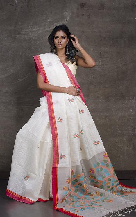 Premium Quality Matka Tussar Jamdani Saree in Off White and Red