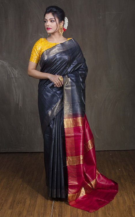 Pure Gicha Tussar Saree in Charcoal Black and Red