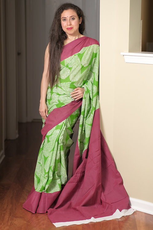 Soft Mulmul Cotton Block Printed Saree in Green and Red