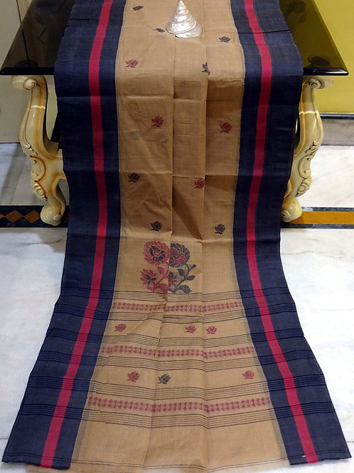 Bengal Handloom Cotton Saree with Starch in Brown, Black and Dark Red