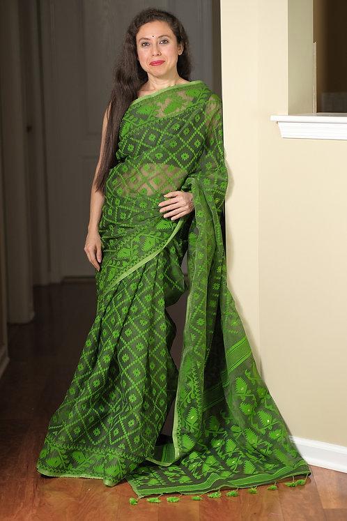 Jamdani Saree with Starch in Green
