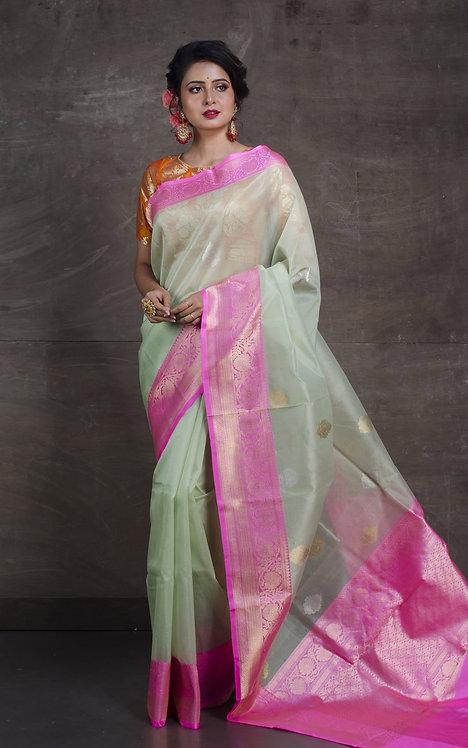 Pure Kora Banarasi Saree in Sea Green, Pink, SIlver and Gold