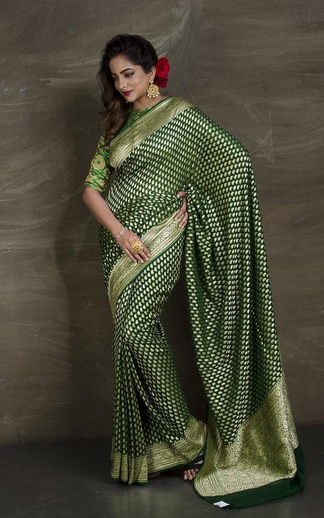 Pure Khaddi Georgette Banarasi Saree in Bottle Green and Gold