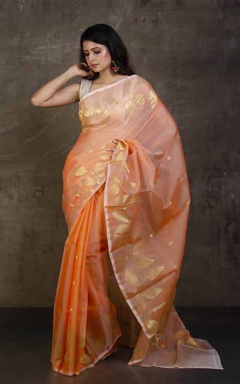 Muslin Jamdani Saree in Light Orange and Gold