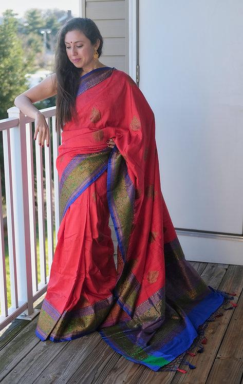 Pure Dupion Tussar Banarasi Saree in Red, Blue and Green