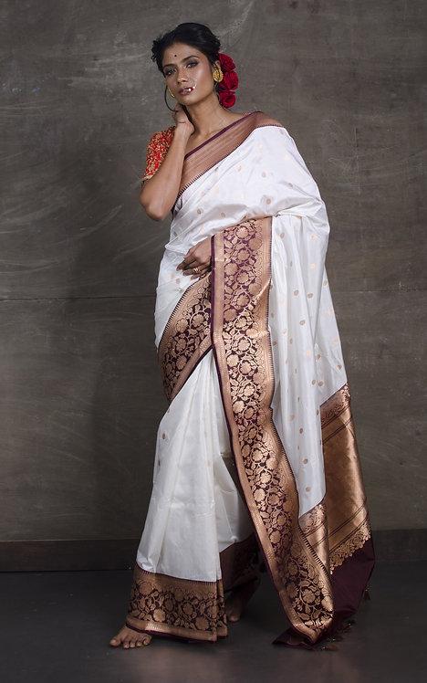 Pure Banarasi Silk Saree in White and Maroon