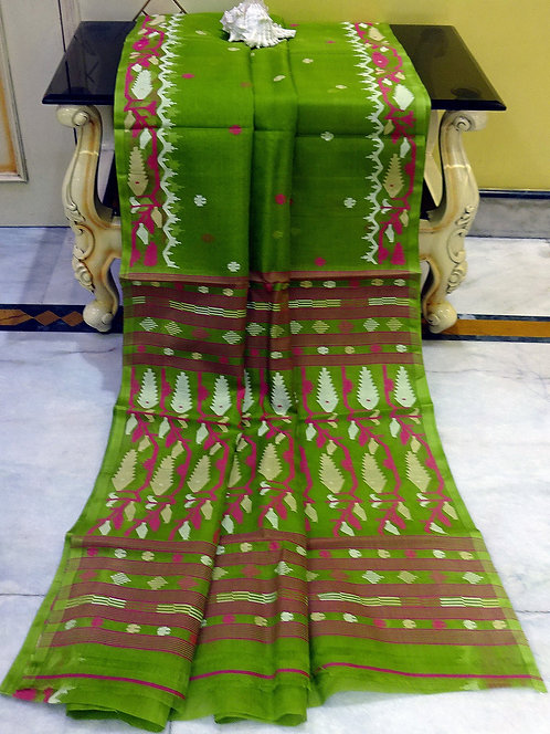 Premium Quality Muslin Jamdani Saree in Pista Green