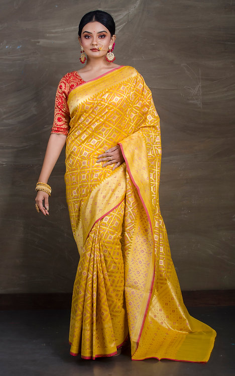 Cotton Patola Banarasi Saree in Yellow and Gold