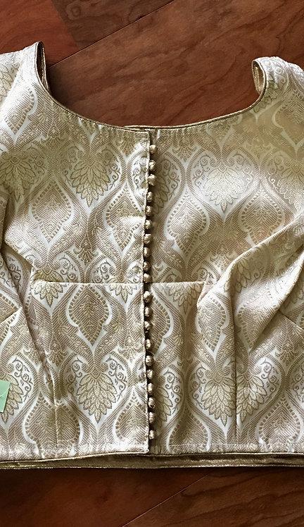 Cream and Copper Zari Silk Blouse in Size - 34