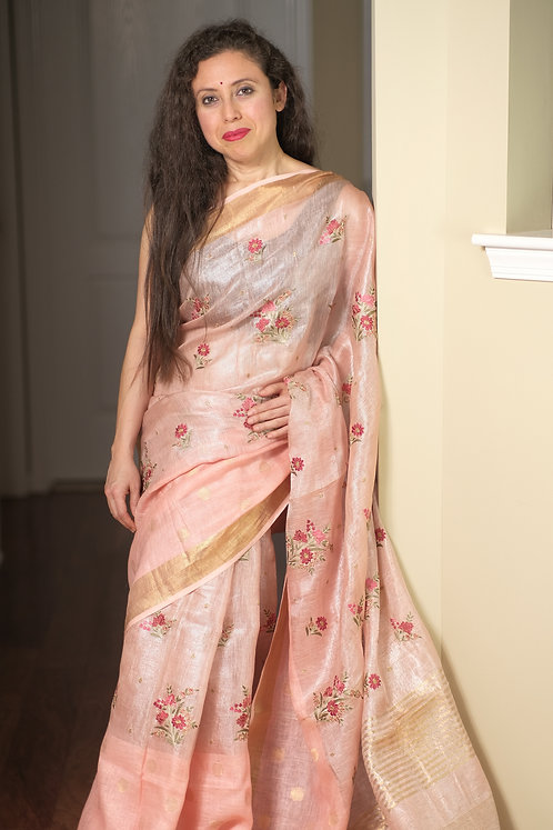 Exclusive Tissue Linen Embroidery Saree in Peach and Gold