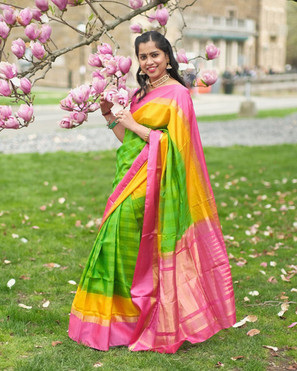 Bengal Looms Diva: Live Life Colorfully - Kabi from Pennsylvania all cheerful, gorgeous and elegant in the vibrant colors of her Kanchipuram Pure Silk Saree from Bengal Looms.