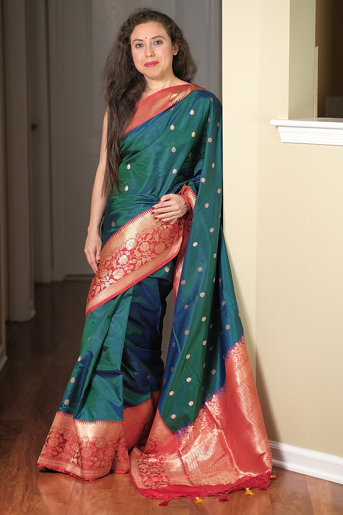 Pure Banarasi Katan Silk Saree in Peacock Green and Red