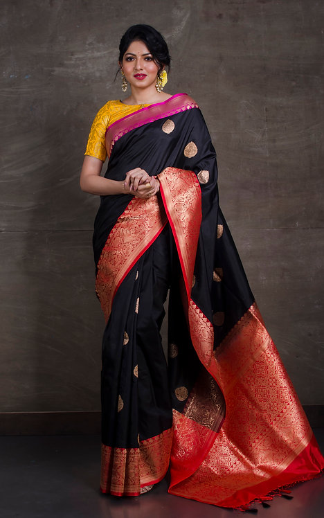 Pure Katan Banarasi Silk Saree with Ganga Jamuna Border in Black, Red and Pink