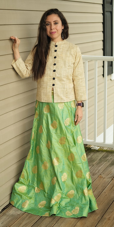 Banarasi Silk Flared Long Skirt in Green and Gold