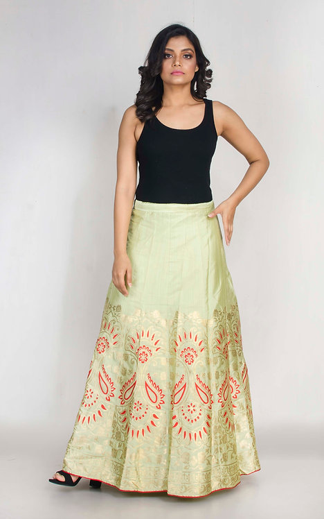 Banarasi Silk Flared Long Skirt in Sea Green and Red , Size XL