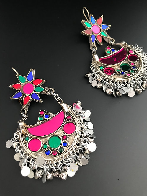 Tribal Afghan Chandbali Earrings