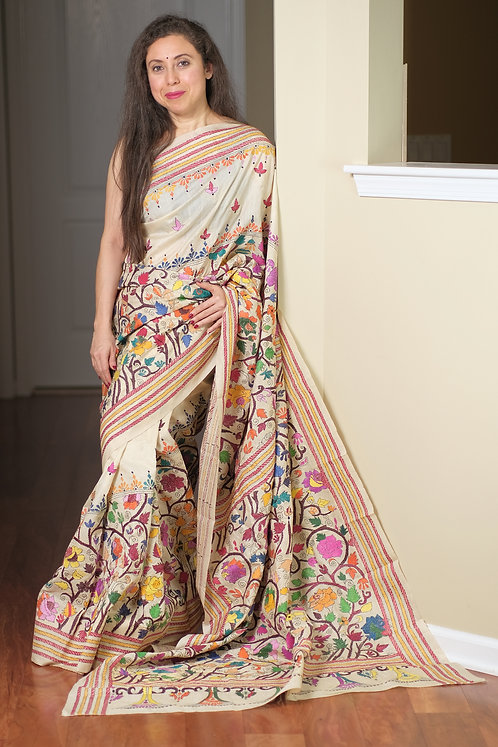Hand Embroidered Kantha Stitched Pure Tussar Silk Saree in Beige and Multi Color