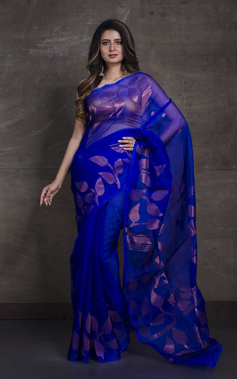 Muslin Jamdani Saree in Royal Blue and Antique Gold