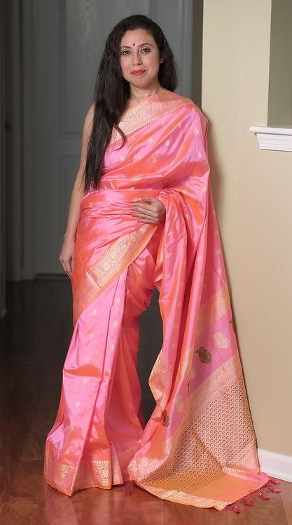 Banarasi Silk Saree with Resham in Baby Pink, Green and Gold