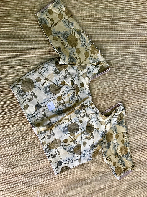 Beige Art Silk Banarasi Saree Blouse in Size 34