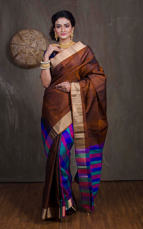 Patli Pallu Kanchipuram Silk Saree in Coffee Brown