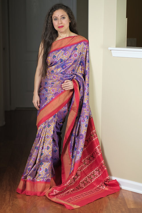 Double Ikat Pochampally Silk Saree in English Mauve, Gold and Red