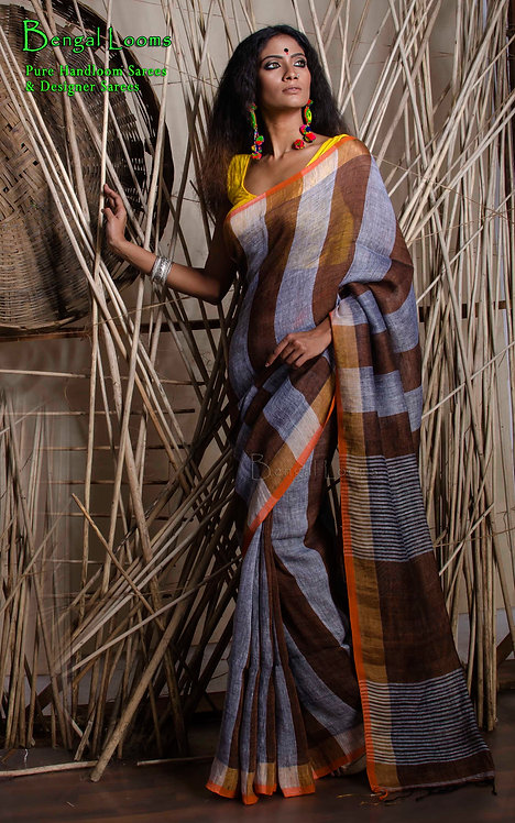 Grey and Brown Stripes Linen Saree