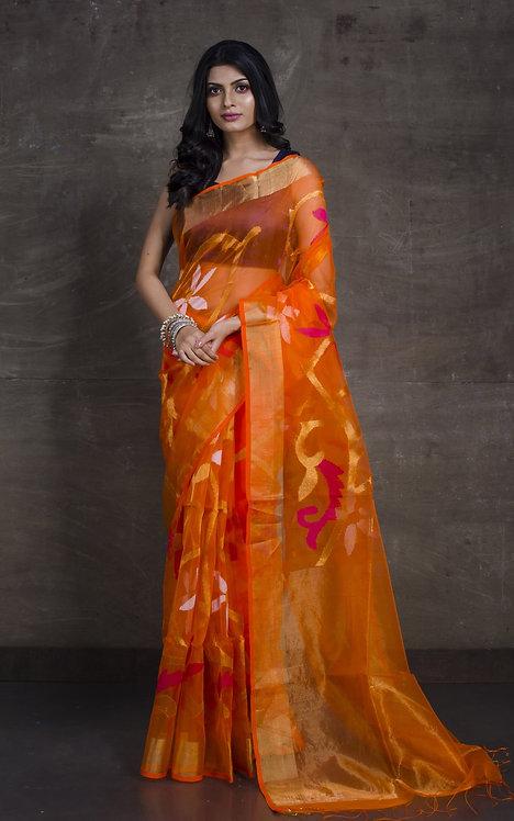 Muslin Jamdani Saree in with Bird Motif in Orange