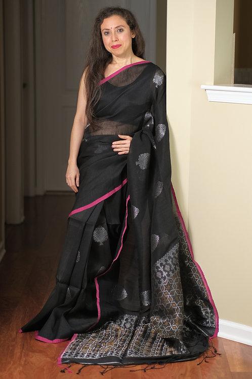 Silk Linen Saree in Black and Silver