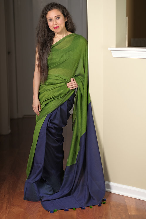 Soft Cotton Saree in Green and Blue