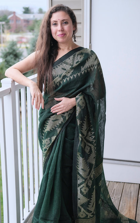 Pure Linen Jamdani Saree in Bottle Green and Antique Gold