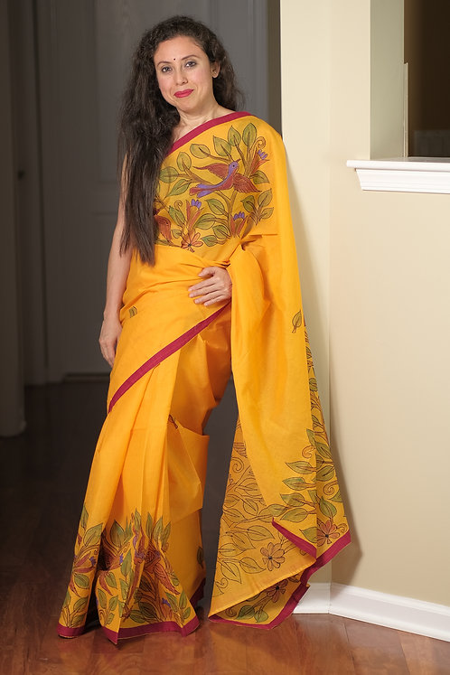 Hand Painted Cotton Applic Boutique Saree in Yellow and Red