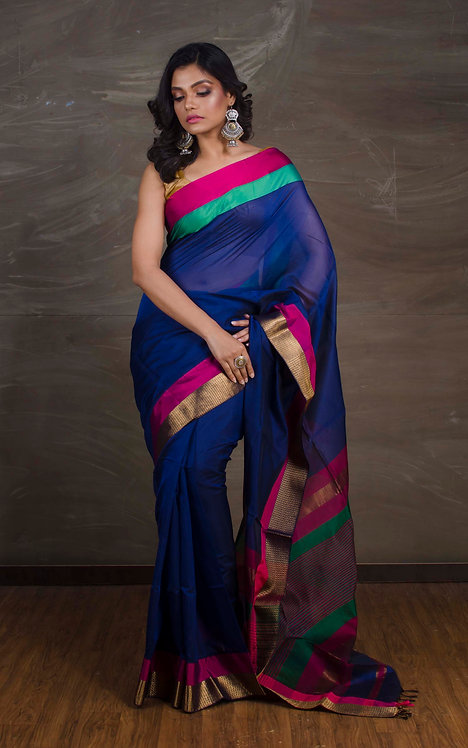 Maheshwari Cotton Silk Saree in Dark Blue and Pink