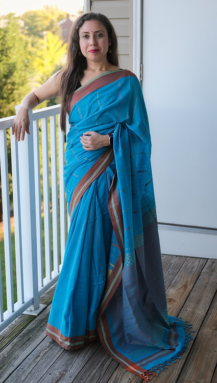 Soft Cotton Saree in Blue and Brown