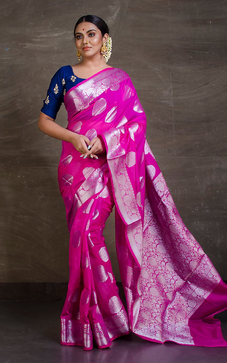 Semi Georgette Banarasi Saree in Magenta and Silver