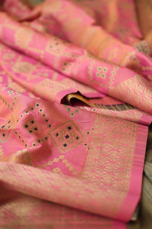 Patola Banarasi Silk Dupatta with Mina Work in Peach