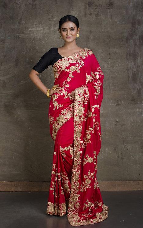 Dola Silk Embroidery Gota Patti Saree in Crimson Red and Gold