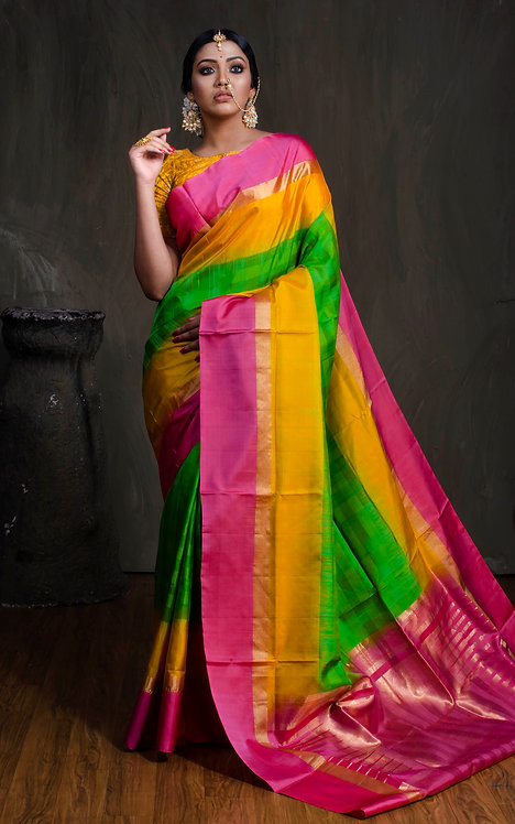Soft Silk Kanchipuram Saree in Parrot Green, Yellow and Pink