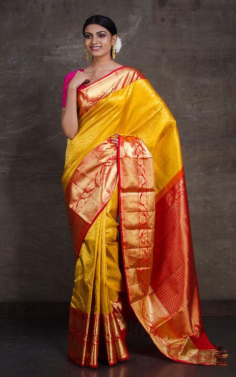 Kanjivaram Silk Saree in Golden Yellow and Red