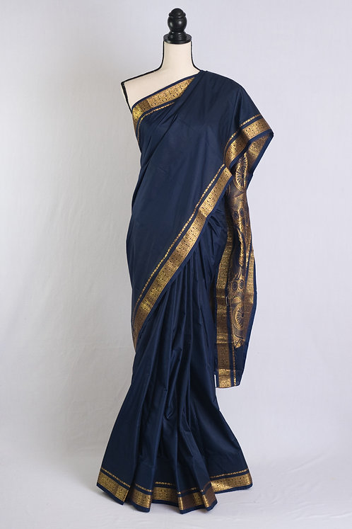Blended Mysore Silk Saree in Dark Blue and Gold