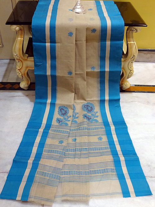 Bengal Handloom Cotton Saree with Starch in Beige and Blue