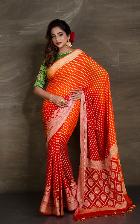 Pure Chiffon Banarasi Saree in Orange and Red