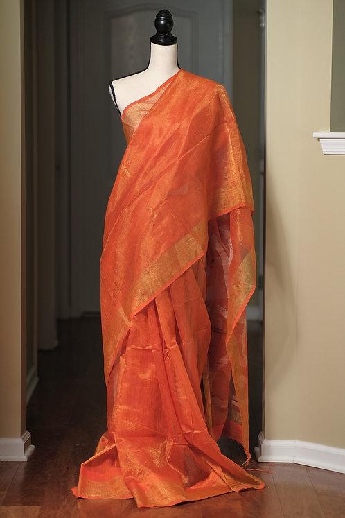 Zari Matka Resham Saree with Muslin Jamdani Work Pallu in Orange and Gold