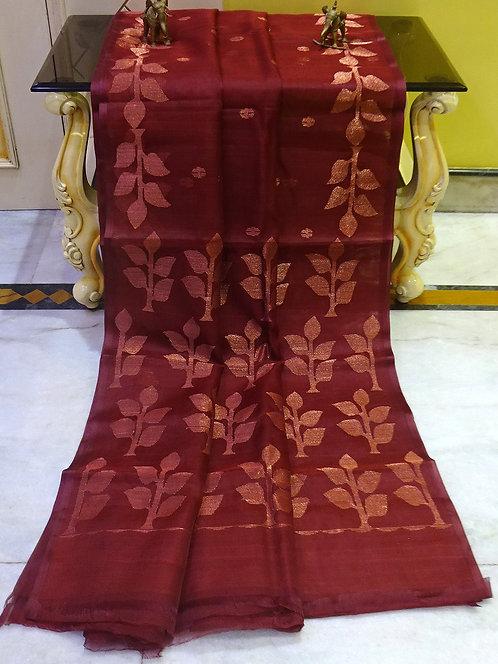 Muslin Jamdani Saree in Mahogany Red and Antique Gold